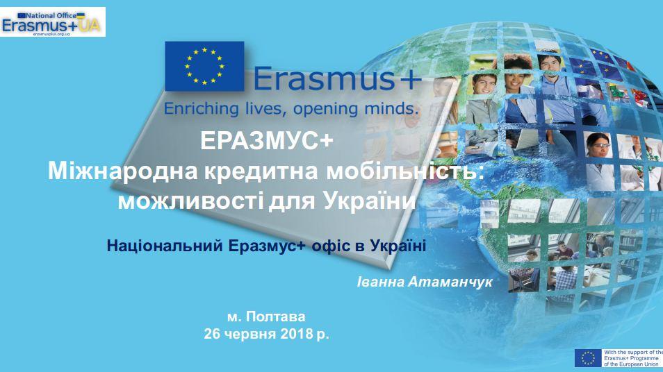ЕРАЗМУС+  Міжнародна кредитна мобільність: можливості для України