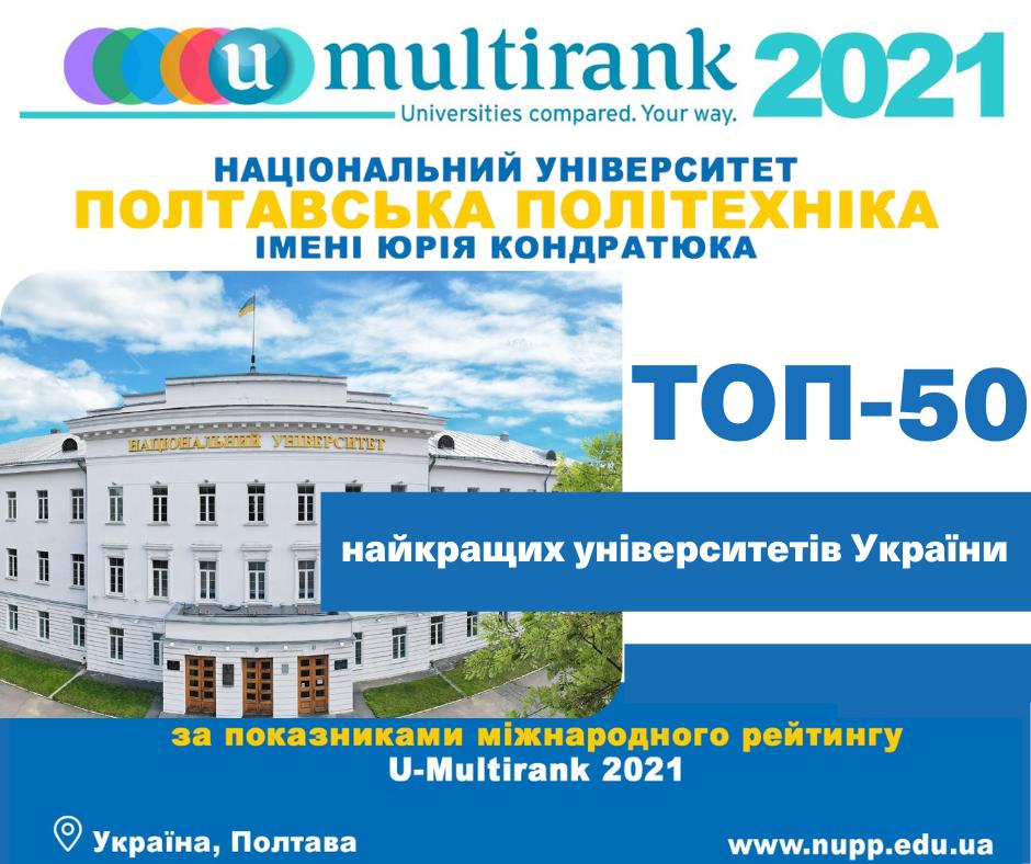 У рейтингу U-Multirank 2021 політехніка увійшла до топ-50 університетів